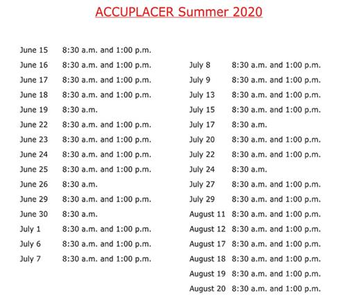 Accuplacer Test Schedule